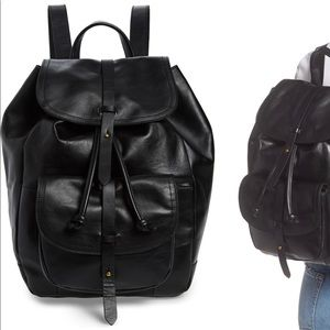 Madewell The Transport Leather Rucksack black